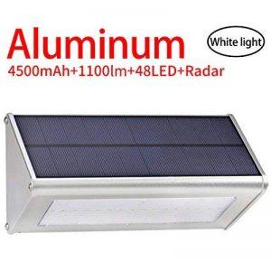 Licwshi 1100 lumens lampe solaire 48LED 4500mAh avec coque en alliage d'aluminum, imperméable en plein air, radar-détection de mouvement, s'appliquant au porche, jardin, cour, garage - lumière blanche(2018 nouvelle version-1 Pack) de la marque image 0 produit