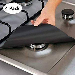 Miyare Lot de 4 Protection de Gazinière Cuisinière Tissu en Fibre Réutilisable -70 ℃ ~ +260 ℃ Facile à Nettoyer (Noir) de la marque Miyare image 0 produit