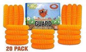 Mosquito Guard - Bracelet répuslif pour moustiques/ Bracelets pour les enfants (20 par boîte) 100% naturel, citronnelle ,geraniol , huile de citron, NON TOXIQUE et sans DEET. Répulsif à insectes de la marque Mosquito Guard image 0 produit