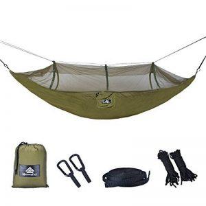 NatureFun Moustiquaire Hamac ultra-léger de voyage Camping | 300 kg Capacité de charge,(275 x 140 cm) respirante, nylon à parachute à séchage rapide | 2 x Mousquetons de qualités, 4 x sangles de nylon Inclus | Pour jardin d'interieur/extérieur | Garantie image 0 produit