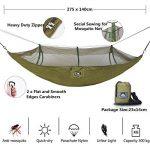 NatureFun Moustiquaire Hamac ultra-léger de voyage Camping | 300 kg Capacité de charge,(275 x 140 cm) respirante, nylon à parachute à séchage rapide | 2 x Mousquetons de qualités, 4 x sangles de nylon Inclus | Pour jardin d'interieur/extérieur | Garantie image 1 produit