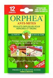 ORPHEA Anti Mites Textiles Diffuseur Parfum Bois de Cèdre 12 Feuillets - Lot de 4 de la marque Orphea image 0 produit