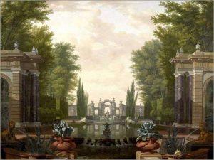 POSTERLOUNGE Impression sur verre acrylique 40 x 30 cm: Water Terrace with Statues and Fountains in a Park de Isaac de Moucheron/Everett Collection de la marque POSTERLOUNGE image 0 produit