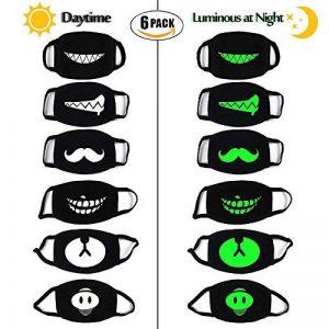 PROACC 6 PACK Coton Masque de mite, Lumineux Unisexe Anti poussière Vent Visage Masque, lueur dans l'obscurité pour En plein air Cyclisme Halloween Cosplay Fête Cool de la marque PROACC image 0 produit