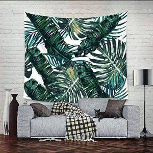 QEES Feuilles de palmier Décoration de Chambre Tapisserie Murale Mutifonction Couvre-lit Drap de Plage 200*148 cm(GT06-Vert foncé) de la marque QEES image 0 produit