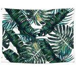 QEES Feuilles de palmier Décoration de Chambre Tapisserie Murale Mutifonction Couvre-lit Drap de Plage 200*148 cm(GT06-Vert foncé) de la marque QEES image 1 produit
