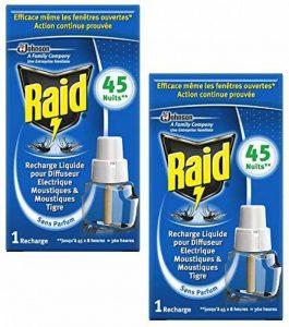 RAID Lot de 2 Recharge sans parfum pour Diffuseur Electrique Réglable 45 Nuits action rapide et efficace contre moustiques moustiques tigres de la marque Raid image 0 produit