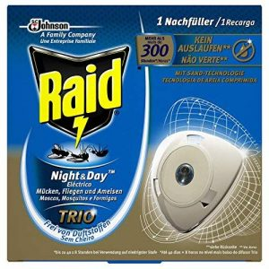 Raid recharge originale pour les insectes Fiche Night & Day Trio, protection contre les insectes dans le jour et nuit, jusqu'à 300heures, Night & Day Trio Recharges de la marque Raid image 0 produit