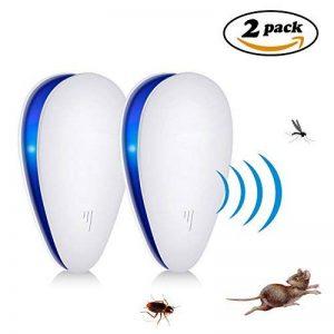 Répulsif à ultrasons antiparasitaires, ANGTUO 2 Pack UPGRADED Insectifuge contrôle électronique de lutte contre les insectes, les souris, les rats, les araignées, les puces, les cafards, les punaises de lit, les moustiques - Humain / Pet Safe de la marque image 0 produit
