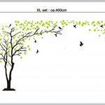 sticker mural arbre oiseau branches vrille salle de séjour 40 couleurs pour le choix wbm25(073 gris foncé, set4:arbre 210 x200cm H, ) de la marque Deco-idea image 2 produit