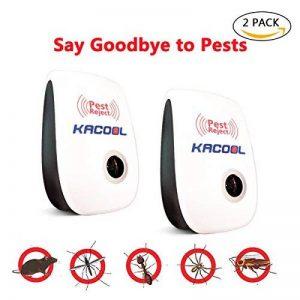 Ultrasons Pest Control, KACOOL Pest Control non toxique à ultrasons sûr pestrepeller avec fiche, anti-moustiques à ultrasons répulsif Antiparasitaire pour moustiques, souris, fourmis, cafards, araignées, lézards, mouches, programme erreur (2 Pack) de la m image 0 produit