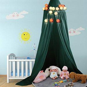 ZJchao Ciel de lit / baldaquin en coton et lin - Décoration pour chambre d'enfant, lit de bébé - Sert aussi de moustiquaire, bonne circulation de l'air - Avec outils pour l'installer - Hauteur : 235cm de la marque ZJchao image 0 produit