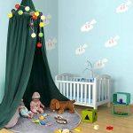 ZJchao Ciel de lit / baldaquin en coton et lin - Décoration pour chambre d'enfant, lit de bébé - Sert aussi de moustiquaire, bonne circulation de l'air - Avec outils pour l'installer - Hauteur : 235cm de la marque ZJchao image 1 produit